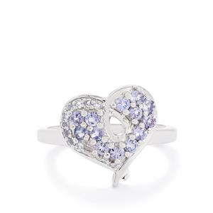 AA Tanzanite Ring with White Topaz in Sterling Silver 0.73ct