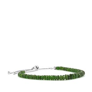 Chrome Diopside Graduated Bead Slider Bracelet in Sterling Silver 22.50cts