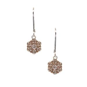 Champagne Diamond Earrings in Sterling Silver 1ct
