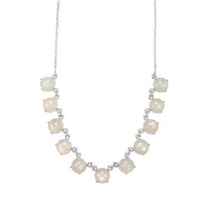 White Moonstone Necklace in Sterling Silver 40.31cts