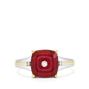 Lehrer TorusRing Malagasy Ruby Ring with Diamond in 10K Gold 4.33cts (F)