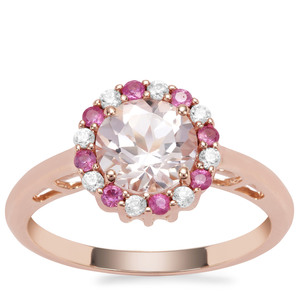 Alto Ligonha Morganite, Pink Sapphire Ring with White Zircon in 9K Rose Gold 1.47cts