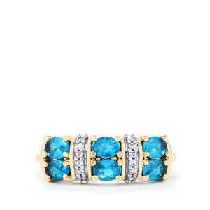 Neon Apatite Ring with White Zircon in 9K Gold 1.06cts