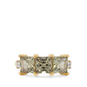Csarite® & White Zircon 9K Gold Ring ATGW 3.90cts