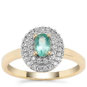 Zambian Emerald Ring with White Zircon in Gold Plated Sterling Silver  0.86cts
