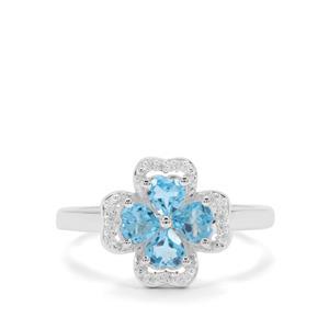 Swiss Blue Topaz & White Zircon Sterling Silver Ring ATGW 0.92ct