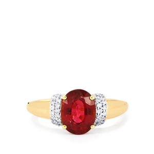 Nigerian Rubellite Ring with Diamond in 18k Gold 2.31cts
