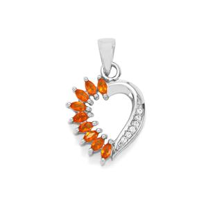 Mexican Fire Opal Pendant with White Zircon in Sterling Silver 0.53cts