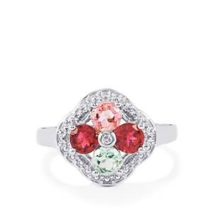 Rainbow Tourmaline Ring with White Topaz in Sterling Silver 1.20cts