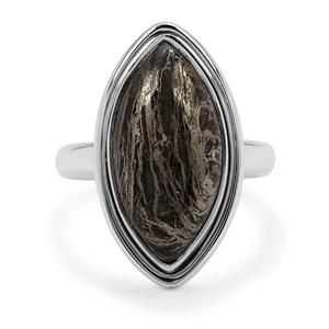 Feather Pyrite Ring in Sterling Silver 10.50cts