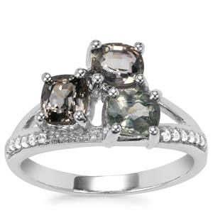 Burmese Multi-Colour Spinel Ring with White Zircon in Sterling Silver 2.13cts
