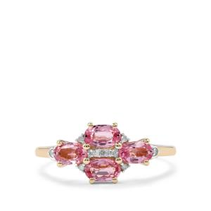Sakaraha Pink Sapphire Ring with Diamond in 9K Gold 1.24cts