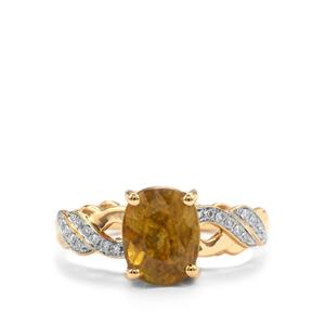 Ambilobe Sphene & Diamond 18K Gold Tomas Rae Ring MTGW 4.05cts