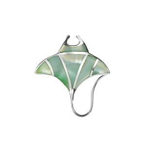 Green Mother of Pearl Mantaray Pendant  in Sterling Silver