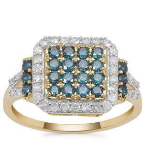 Blue Diamond Ring with White Diamond in 9K Gold 1cts