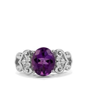 Zambian Amethyst & White Topaz Sterling Silver Ring ATGW 3.63cts