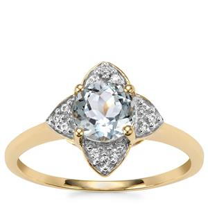Pedra Azul Aquamarine Ring with White Zircon in 9K Gold 0.90cts
