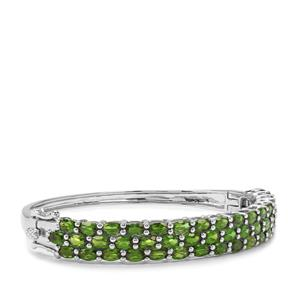 Chrome Diopside Oval Bangle in Platinum Plated Sterling Silver 11.60cts