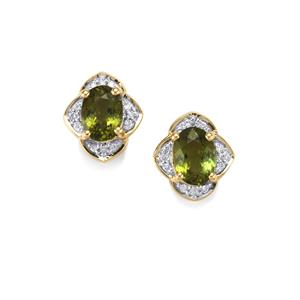 Cuprian Tourmaline Earrings with Diamond in 18K Gold 2.02cts