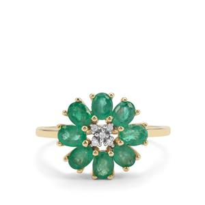 Zambian Emerald Ring with White Zircon in 9K Gold 1.53cts