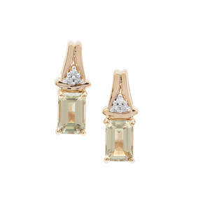 Csarite® & White Diamond 9K Gold Earrings ATGW 1.38cts