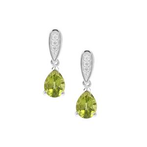 Red Dragon Peridot Earrings with White Zircon in Sterling Silver 2.54cts