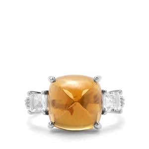 Honey Quartz & White Zircon Sterling Silver Ring ATGW 9.60cts