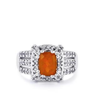 AA Orange American Fire Opal & White Topaz Sterling Silver Ring ATGW 1.60cts