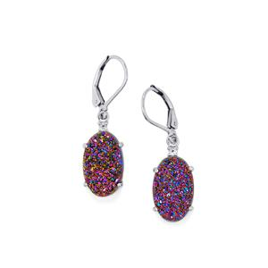 Purple Drusy & White Topaz Sterling Silver Earrings ATGW 12.55cts