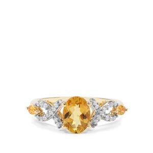 Xia Heliodor, Diamantina Citrine & White Zircon 9K Gold  ATGW Ring 1.37cts