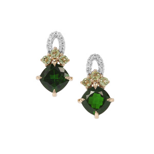 Chrome Diopside, Peridot Earrings with White Zircon in 9K Gold 2.38cts