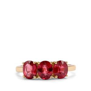 Malawi Garnet Ring in 10K Gold 2.43cts