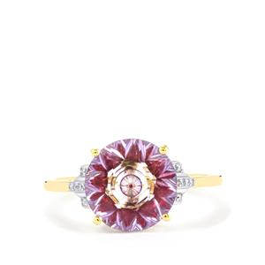 Lehrer KaleidosCut Rose Topaz, Red Spinel Ring with Diamond in 9K Gold 3.79cts