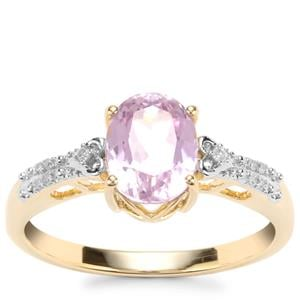 Mawi Kunzite Ring with Diamond in 10K Gold 1.86cts