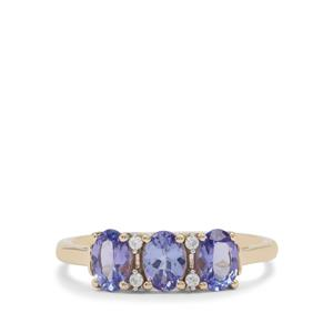 AA Tanzanite Ring with White Zircon in 9K Gold 1.25cts