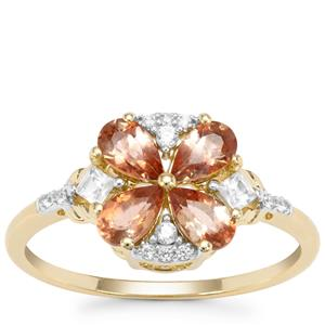 Sopa Andalusite Ring with White Zircon in 9K Gold 1.03cts