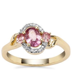 Padparadscha Sapphire Ring with Diamond in 9K Gold 1.06cts