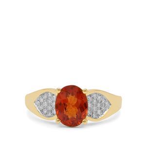 Mandarin Garnet Ring with Diamond in 18K Gold 2.35cts