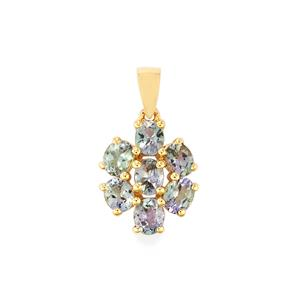 Bi Colour Tanzanite Pendant in 9K Gold 2.55cts
