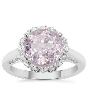Brazilian Kunzite Ring with White Zircon in Sterling Silver 4.39cts