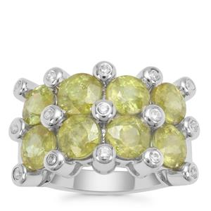 Ambilobe Sphene Ring with White Zircon in Sterling Silver 6.31cts
