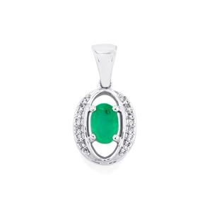 Siberian Emerald Pendant with White Sapphire in 10k White Gold 0.54cts