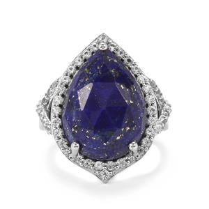 Sar-i-Sang Lapis Lazuli Ring with White Topaz in Platinum Plated Sterling Silver 10.10cts