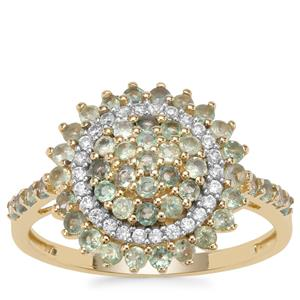 Alexandrite Ring with White Zircon in 9K Gold 1.08cts