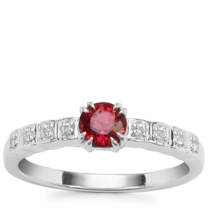 Burmese Red Spinel Ring with White Zircon in Sterling Silver 0.51ct