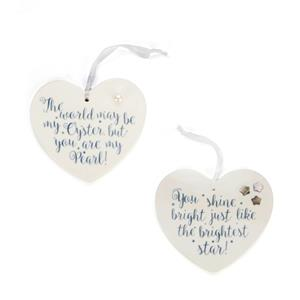 Set of 2 Ceramic Heart Hanging Decorations with Fresh Water Pearl/Mother of Pearl