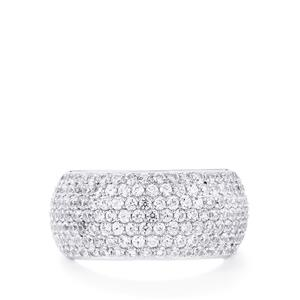 White Zircon Ring in Sterling Silver 3.51cts