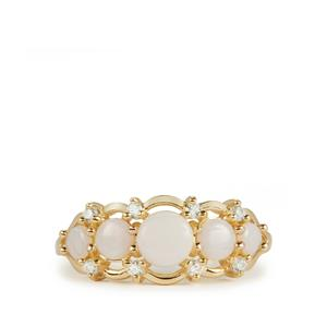Coober Pedy Opal & White Zircon 9K Gold Ring ATGW 0.85cts