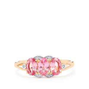 Mozambique Pink Spinel Ring with Diamond in 14K Rose Gold 1.48cts