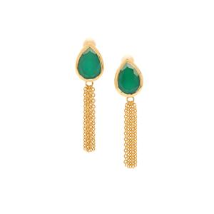 Green Onyx Earrings in Gold Plated Sterling Silver 8.69cts